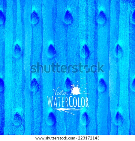 blue watercolor texture, abstract hand drawn sea or winter snow illustration, vector background - stock vector