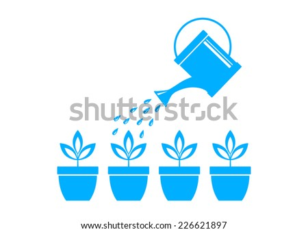 Blue watering can and plants on white background  - stock vector