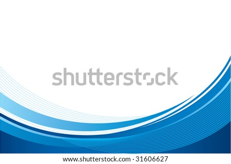 Blue wave background, vector - stock vector