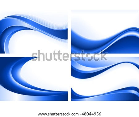 Blue wave templates. Use of blends, clipping masks, linear and radial gradients, global color swatches. Artwork grouped and layered. - stock vector