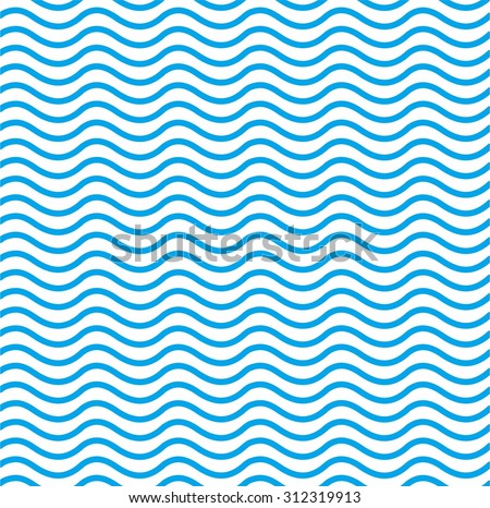 Blue wave, vector seamless abstract  pattern, repeating background - stock vector