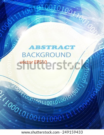 Blue wavy abstract background with a binary code - stock vector