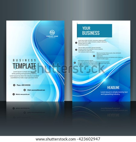 Blue wavy brochure - stock vector