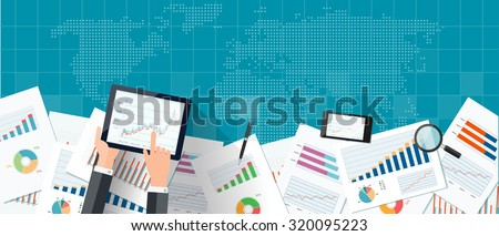 Blue web banner with world map, mobile devices, business charts and reports. Vector business investment and finance concept, business planning. - stock vector