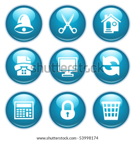 Blue web buttons 7 - stock vector
