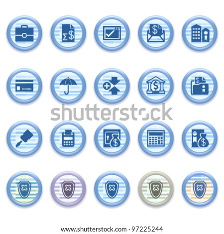 Blue web icons set 19 - stock vector