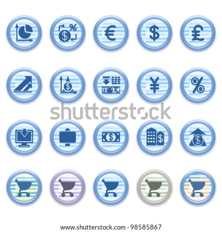 Blue web icons set 23 - stock vector