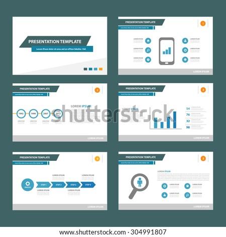 Blue web multipurpose presentation brochure flyer template flat design set  - stock vector