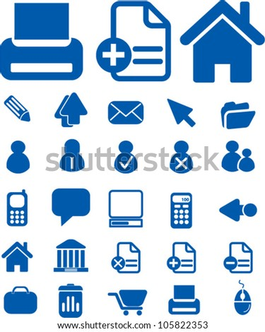 blue web office icons set, vector - stock vector