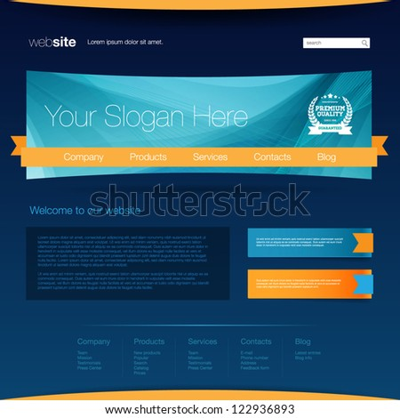 Blue web page design template - stock vector