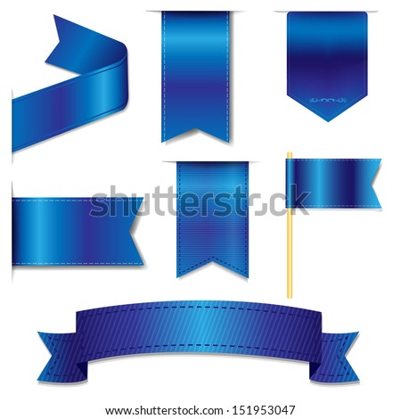Blue Web Ribbons Set With Gradient Mesh, Vector Illustration - stock vector