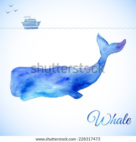 Blue Whale Illustration under the water. Small ship above, little boat  on white. Watercolor whale. Vector illustration of watercolor whale,  - stock vector