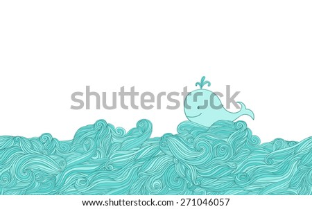 Blue whale in water - stock vector