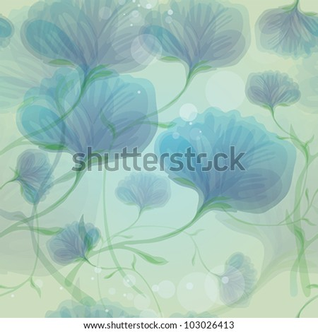 Blue wild roses in the morning dew / Seamless romantic flower background - stock vector