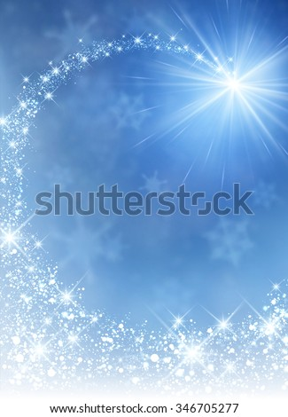 Blue winter background with petard. Vector paper illustration. - stock vector