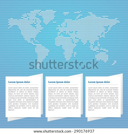 Blue World Map Background. Vector EPS10  - stock vector