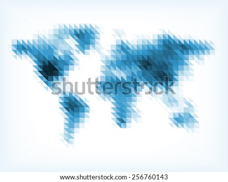 Blue World Map Made of Small Triangles - stock vector