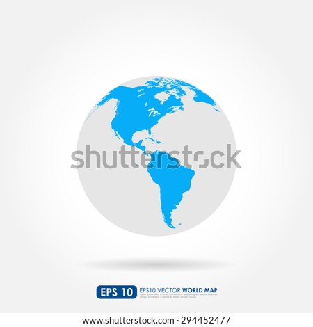Blue world map on the globe showing North & South America continents - stock vector
