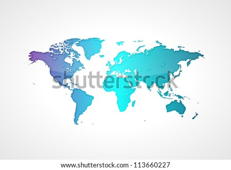 Blue world map. Vector saved as eps-10, file contains objects with transparency. - stock vector