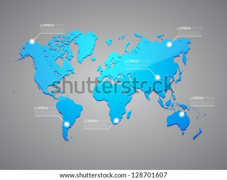 Blue World Map with Infographic Elements | EPS10 Editable Vector Background - stock vector