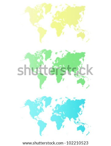 Blue,yellow and green Illustrated world map with black background-vector - stock vector