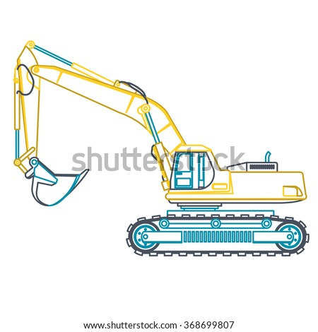 Blue yellow outline big digger builds roads on white. Digging of ground. Professional flatten isolated illustration master vector. Truck Digger Crane Fork lift Small Bagger, Mix, Roller, Excavator - stock vector