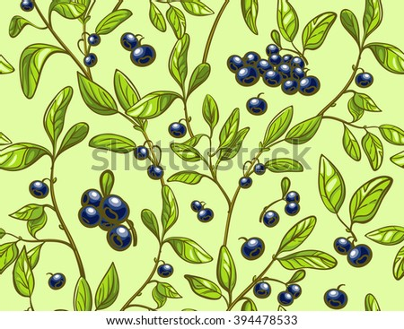 Blueberry seamless pattern. Colorful blueberry branches and berries light green background. Perfect for agriculture themes design, farmers market, package etc. - stock vector