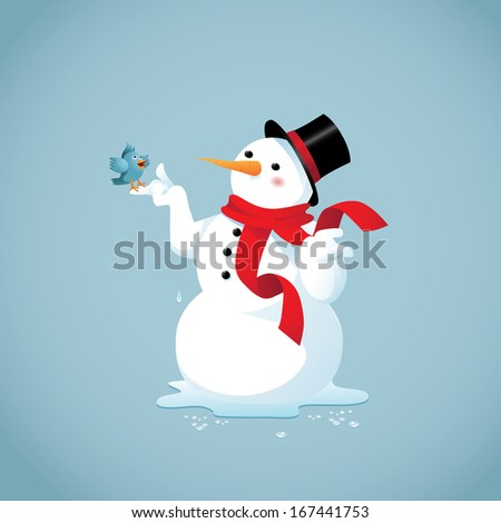 Bluebird of spring visits a melting snowman. EPS 10 vector, grouped for easy editing. No open shapes or paths. - stock vector