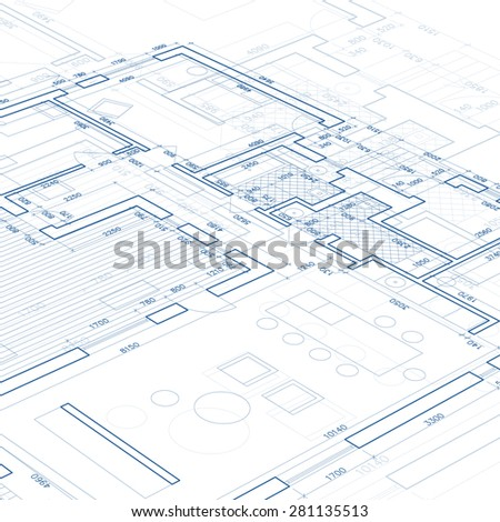 Blueprint. Architectural drawing. - stock vector