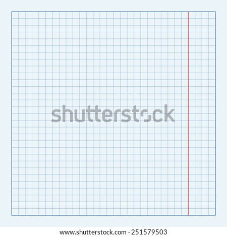 Blueprint background texture with red stripe. Vector technical paper  - stock vector