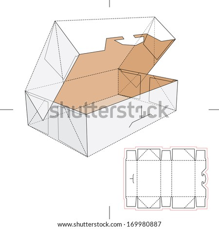 Blueprint Box with Blueprint Layout - stock vector