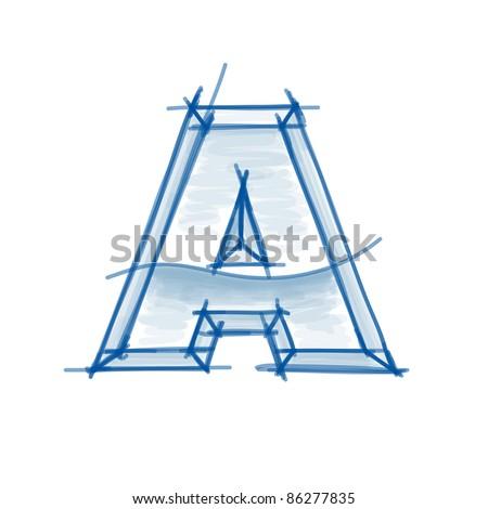 Blueprint font sketch - letter A - marker drawing - stock vector
