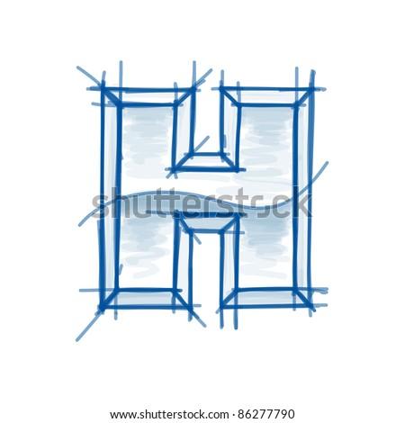 Blueprint font sketch - letter H - marker drawing - stock vector