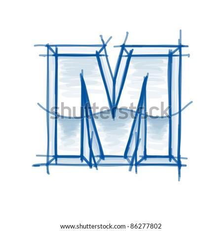 Blueprint font sketch - letter M - marker drawing - stock vector