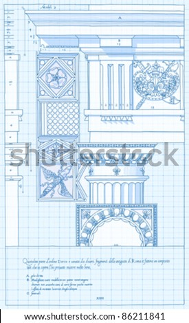 """Blueprint - hand draw sketch doric architectural order based """"The Five Orders of Architecture"""" is a book on architecture by Giacomo Barozzi da Vignola from 1593. Vector illustration. - stock vector"""