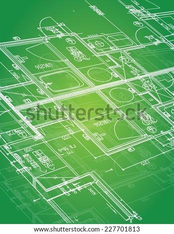 blueprint illustration design over a green background - stock vector