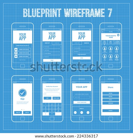 Blueprint Mobile App Wireframe Ui Kit 7. Welcome screen, sign in screen, sign up screen, profile screen, tutorial screen, verify account screen, your app screen, register screen, share. - stock vector