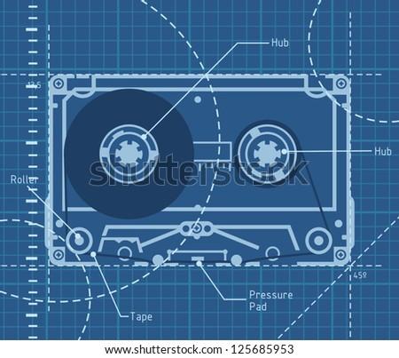 Blueprint of a 80's cassette - stock vector