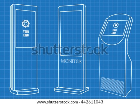Blueprint of Promotional Interactive Information Kiosk Terminal Stand Touch Screen Display. Mock Up Template. - stock vector