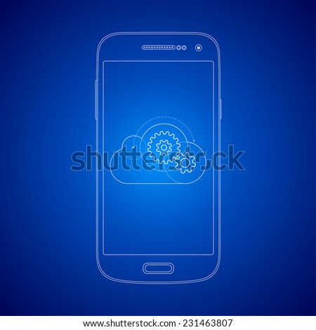 Blueprint style mobile smart phone cloud computing illustration concept. Gears in the cloud. - stock vector