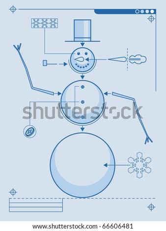 Blueprint style plans for building a snowman - stock vector