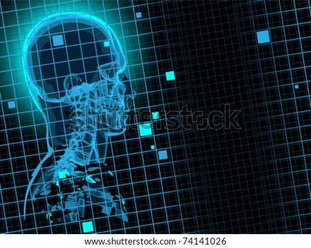 Blueprint with xray skull eps8 - stock vector