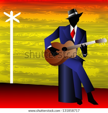 Blues Guitarist at the Crossroads, Vector Background for a Concert Poster or Flyer - stock vector