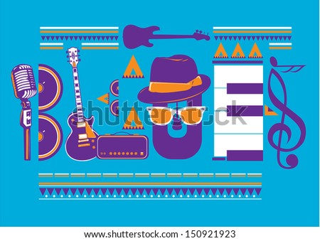 blues music artwork for poster in vibrant colors - stock vector