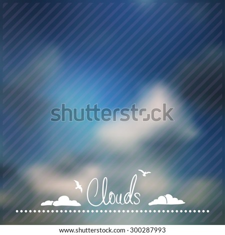 blur Blue Sky with clouds. beautiful vector background - stock vector