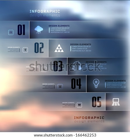 Blur business step transparent and shadows options banner. Vector illustration. can be used for , diagram, number options, step up options, web template, infographics. Blur, shadows background - stock vector