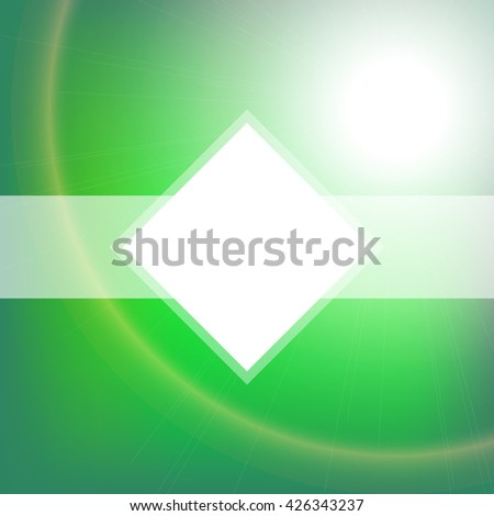 Blurred glowing emerald background. Design element for card, banner, ads or poster. Vector bright backdrop. Abstract vector background with blurred lights and white space for text - stock vector