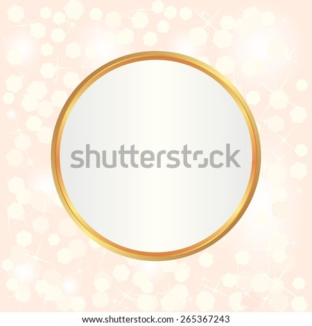 blurred lights and golden frame - stock vector