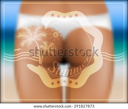 Blurred summer background with the silhouette of a girl in a bathing suit. - stock vector