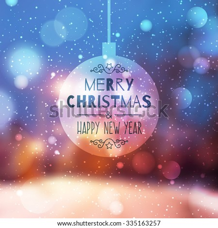 blurred winter background of evening street, lights and snow, merry christmas and happy new year - stock vector